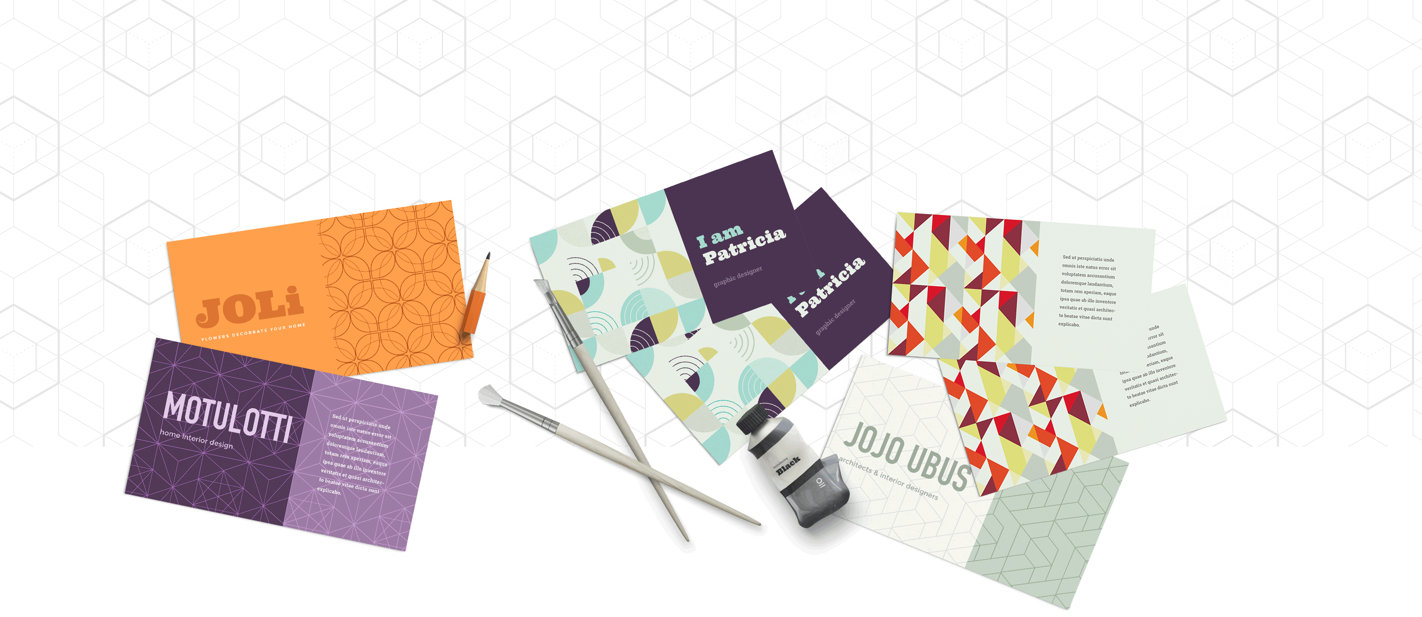 collage of the 20 FREE seamless geometrical Adobe Illustrator patterns - showing business card mockups