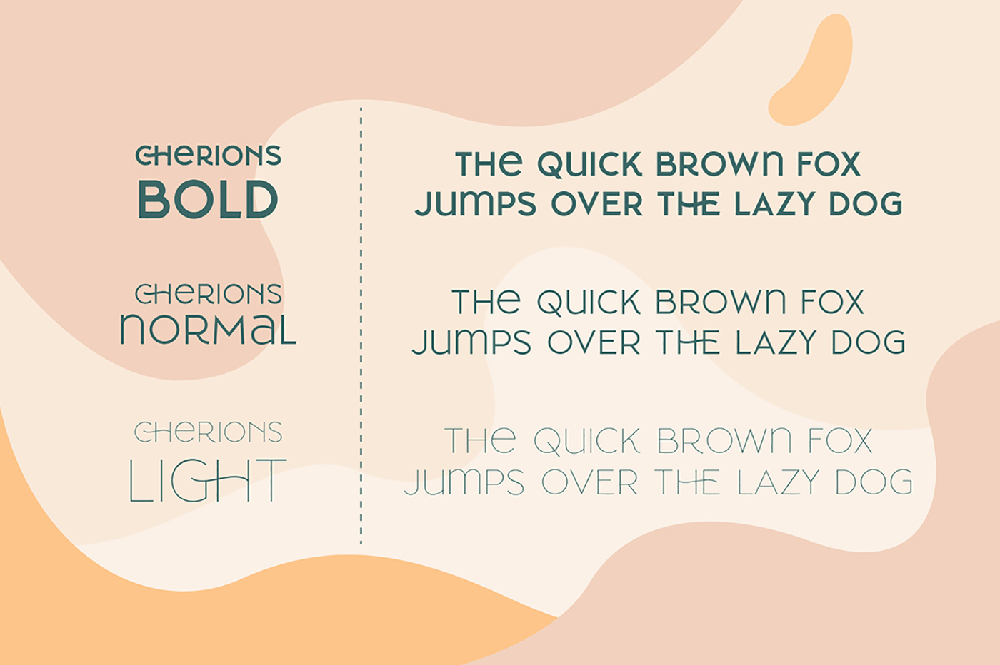 Cherione font family consists of 3 weights: Light, Normal, and Bold