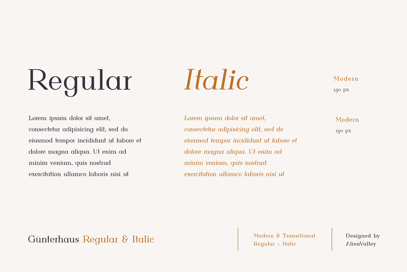 Günterhaus is a new serif typeface that comes in 2 variations