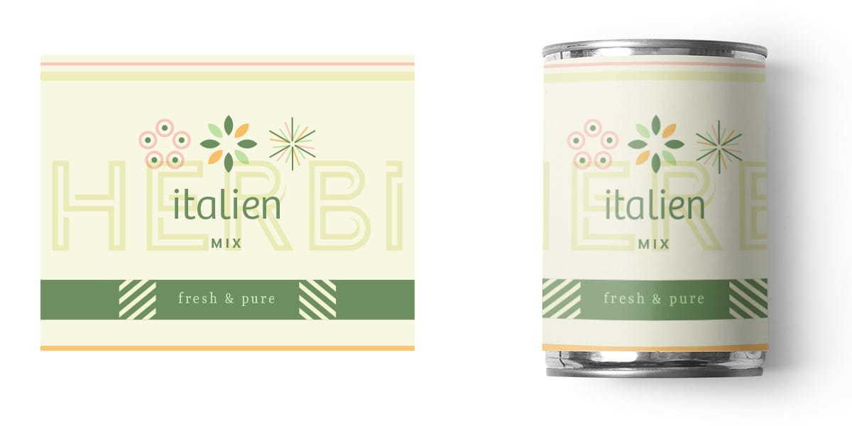 HERBi packaging label design