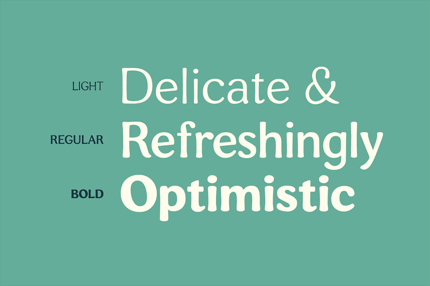 3 weights – light, regular & bold.