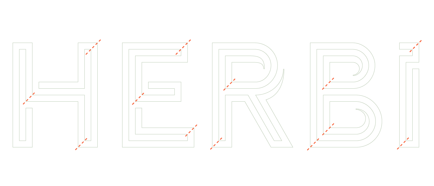 HERBi logo shown in outline with small incisions to break the letters up in parts