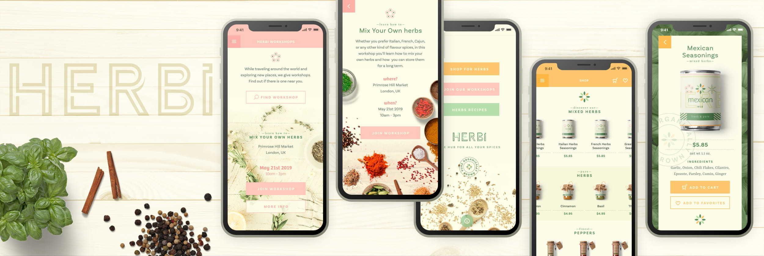 HERBi app screens