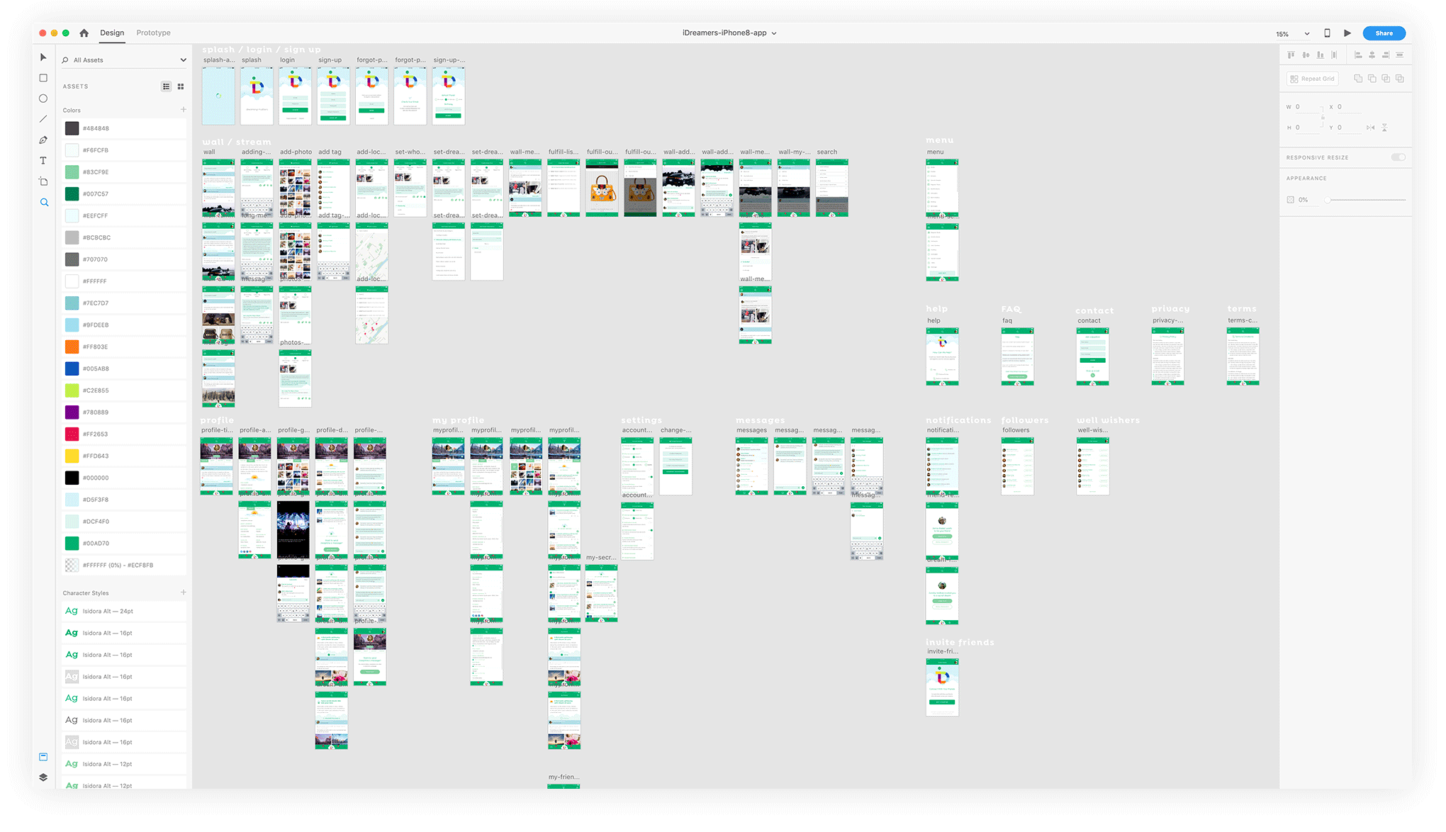 A zoomed out screenshot of all the screens of my very 1st mobile app project in Adobe XD