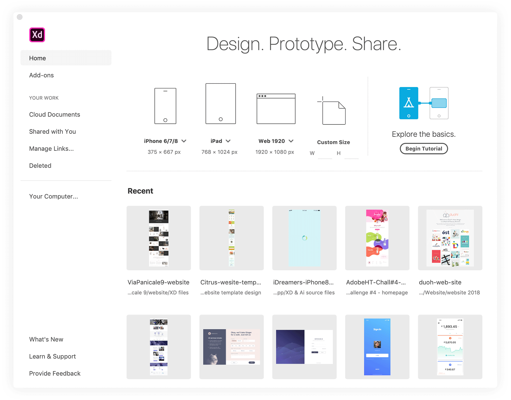 Adobe XD startup splash screen showing a set of popular mobile and web document dimensions, a button to a quick tutorial and a few of your recently opened projects