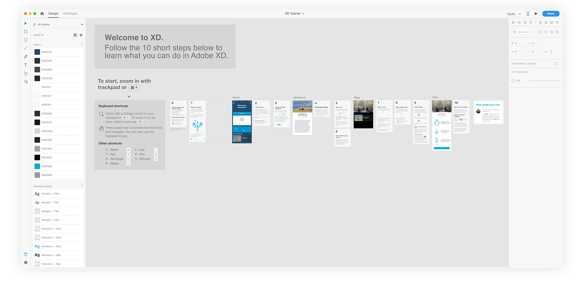 Adobe XD quick tutorial that will get you to learn how to use this application in less than 1 hour