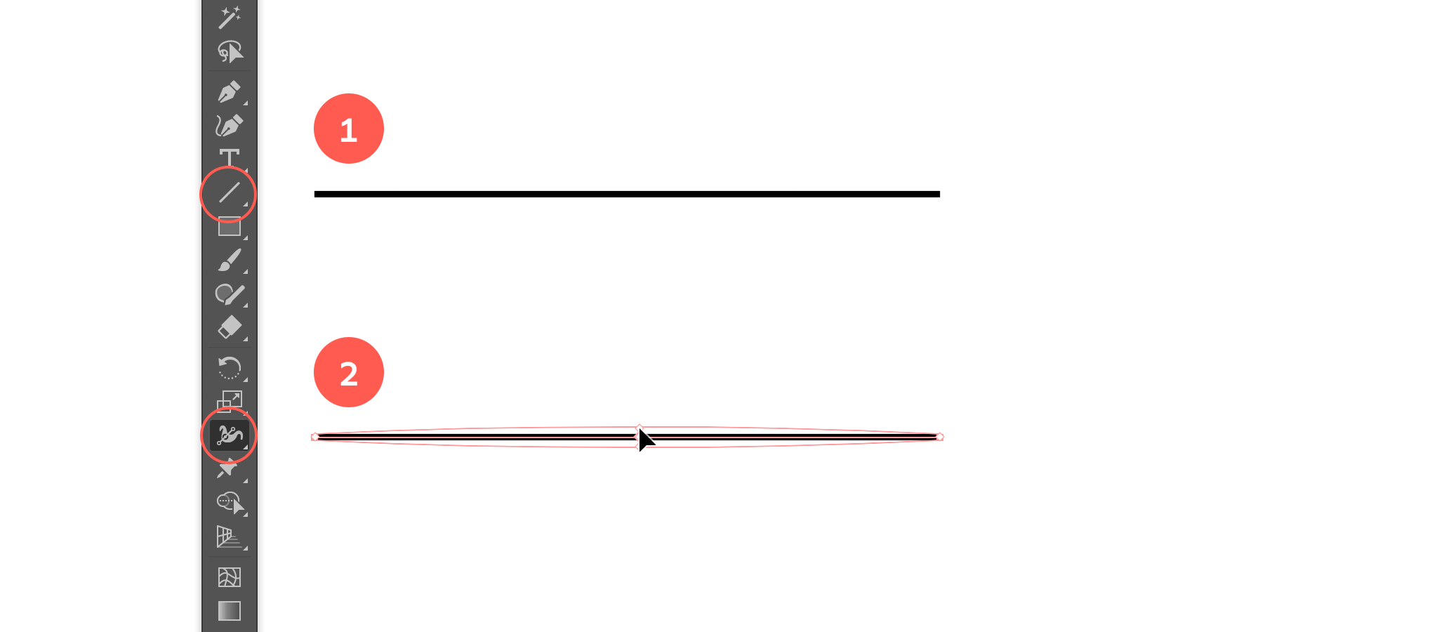 Draw a straight line and adjust the width in the middle.