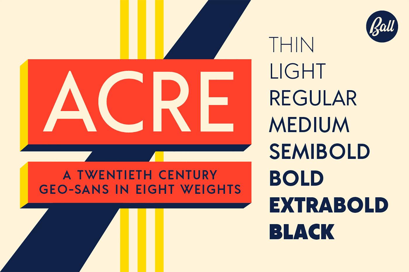 Acre is a twentieth-century geo-sans in eight weights