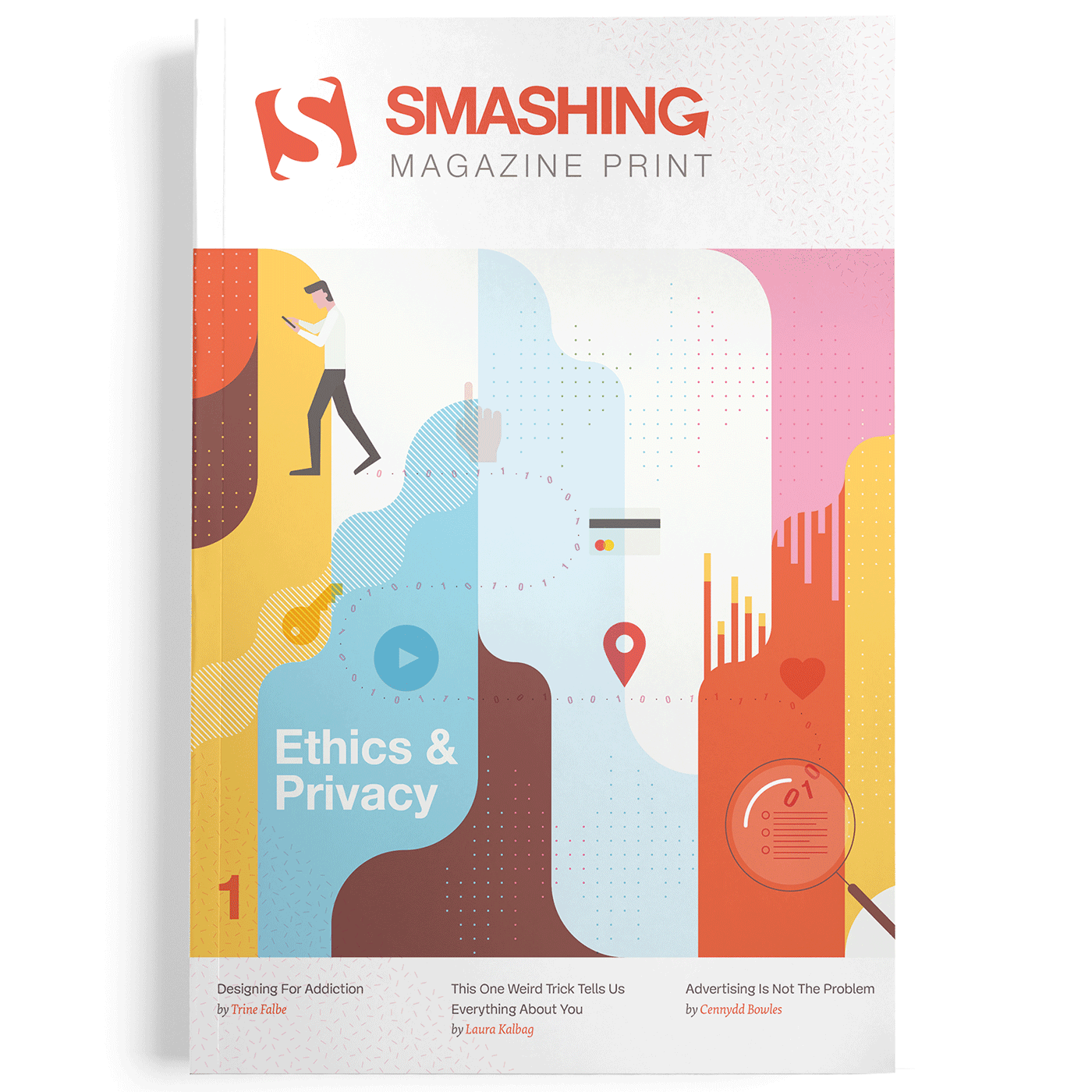 A mockup of the final Smashing Magazine Print cover design (in front view)