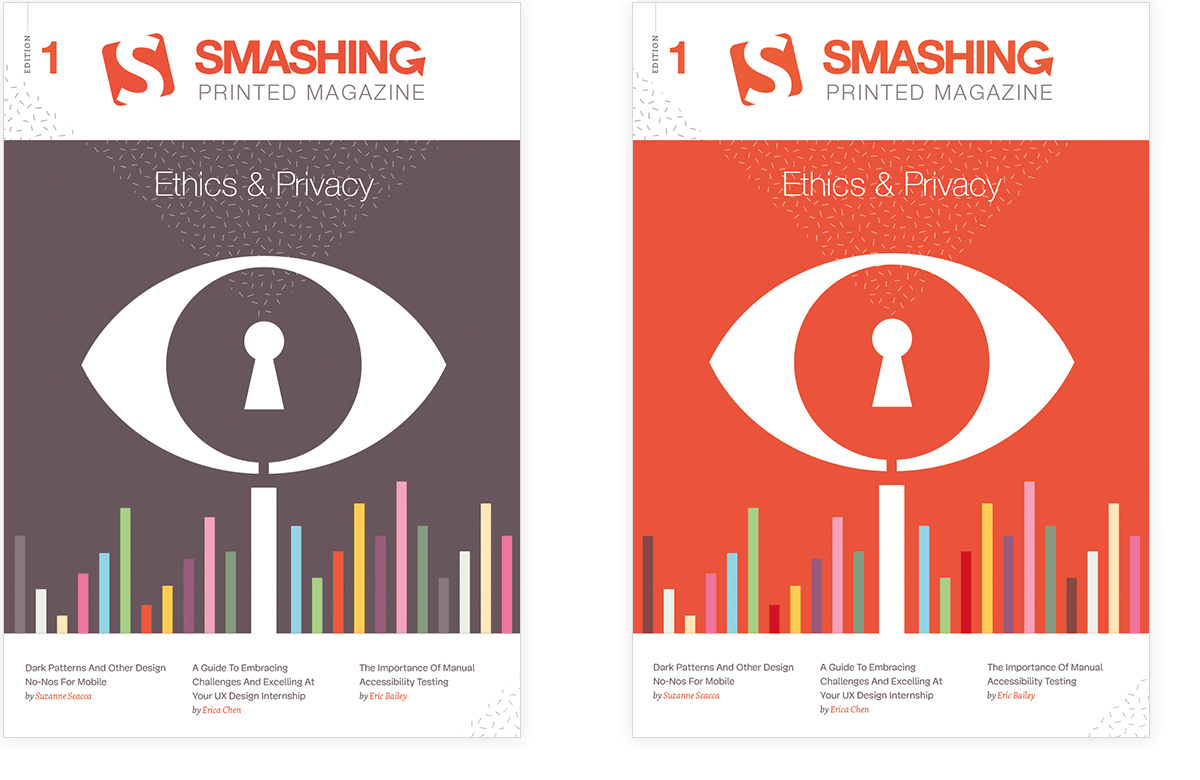 First design proposals for the Smashing Magazine Print cover