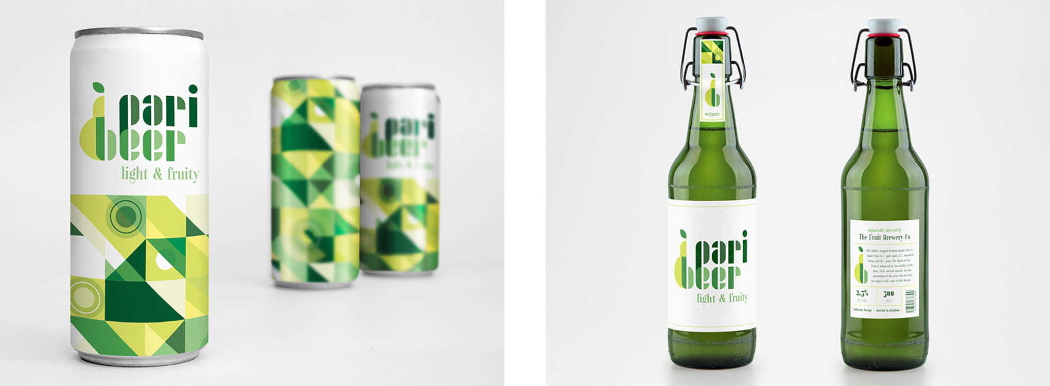 I created this fictional beer brewing brand named Paribeer, presented in 2 different ways: on a beer can and the traditional bottled way.