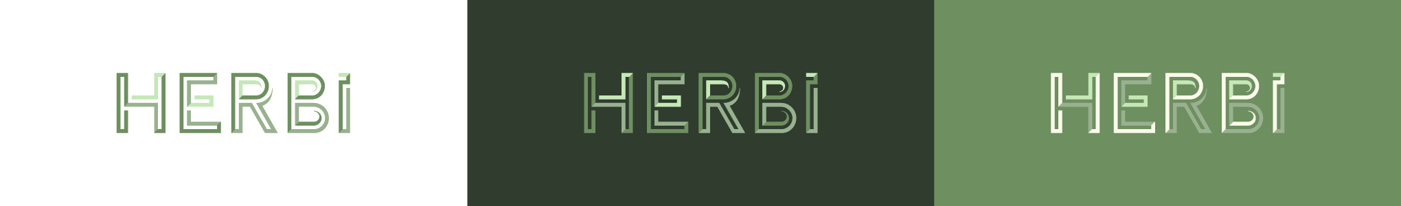 HERBi logo on different backgrounds