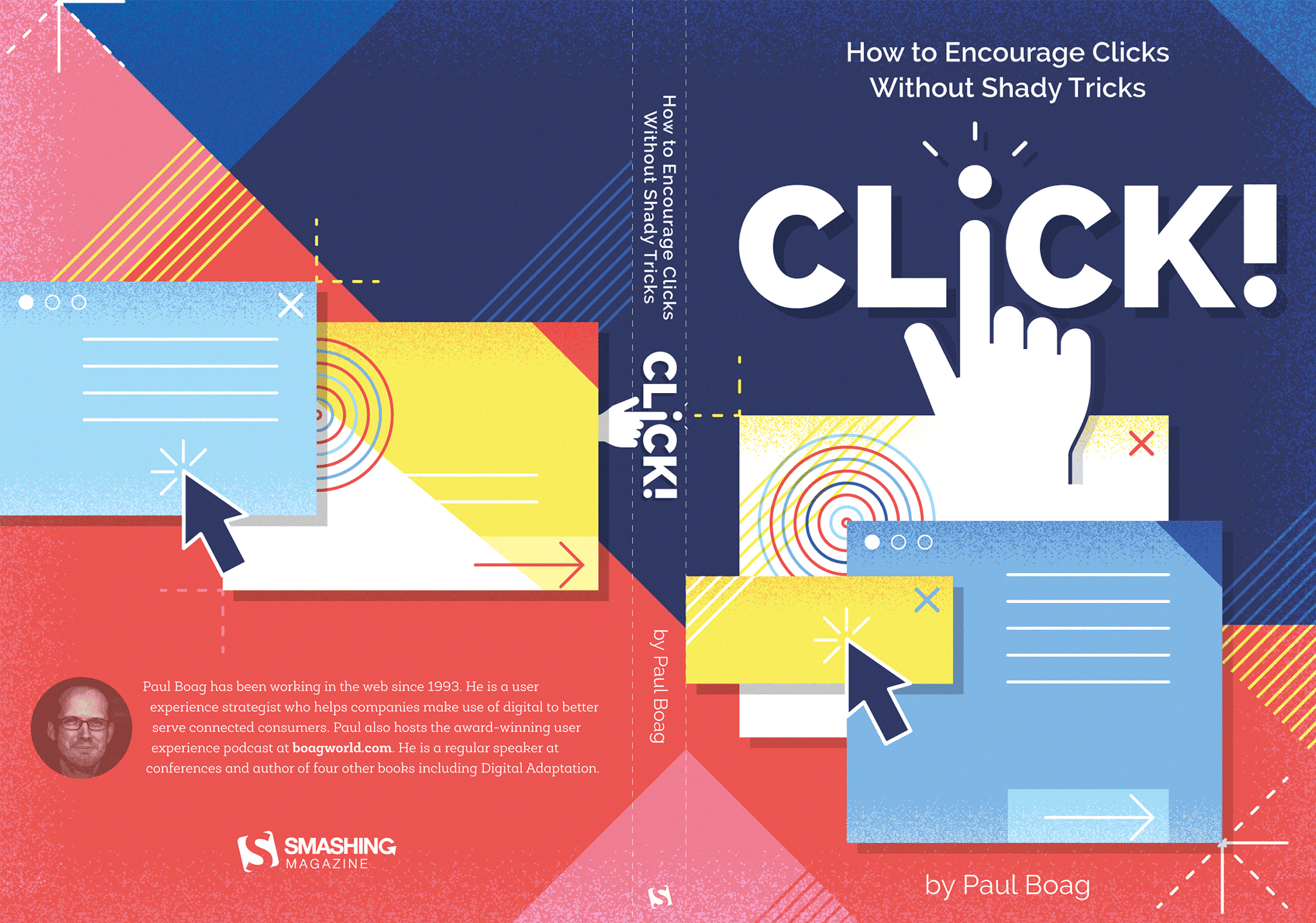 First design proposal of the Click! book's full cover including spine and back