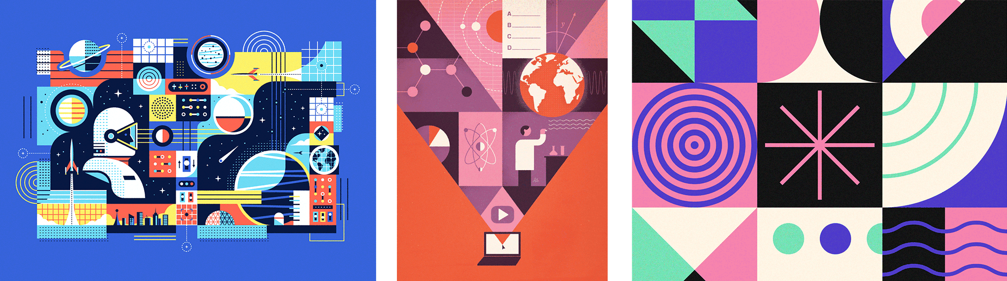 Inspired by 'Space is the Place' by Matt Carlson, an illustration from Jesse Lefkowitz.com, and a cool pattern illustration by Rogie