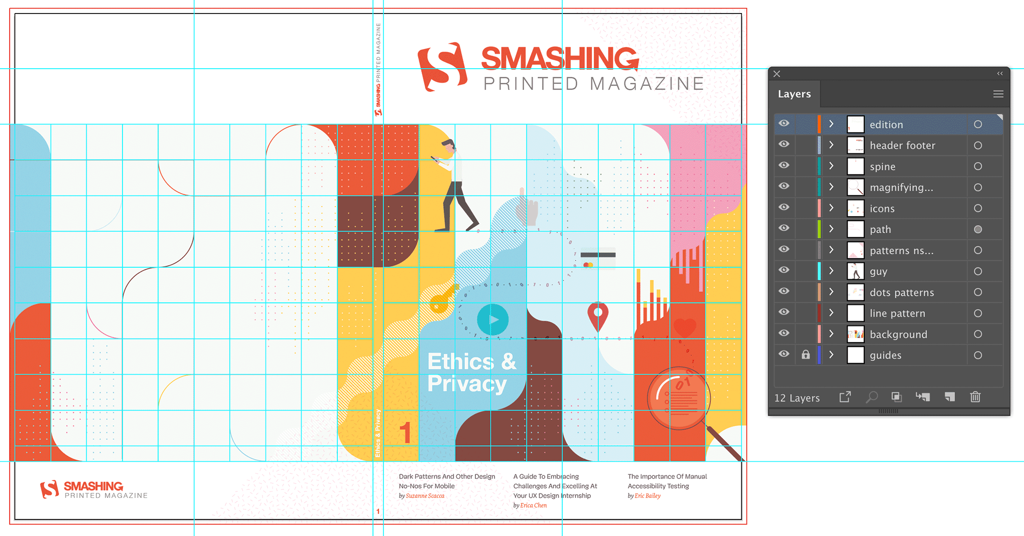 Final cover design shown in Adobe Illustrator with grid guides and Layers panel.