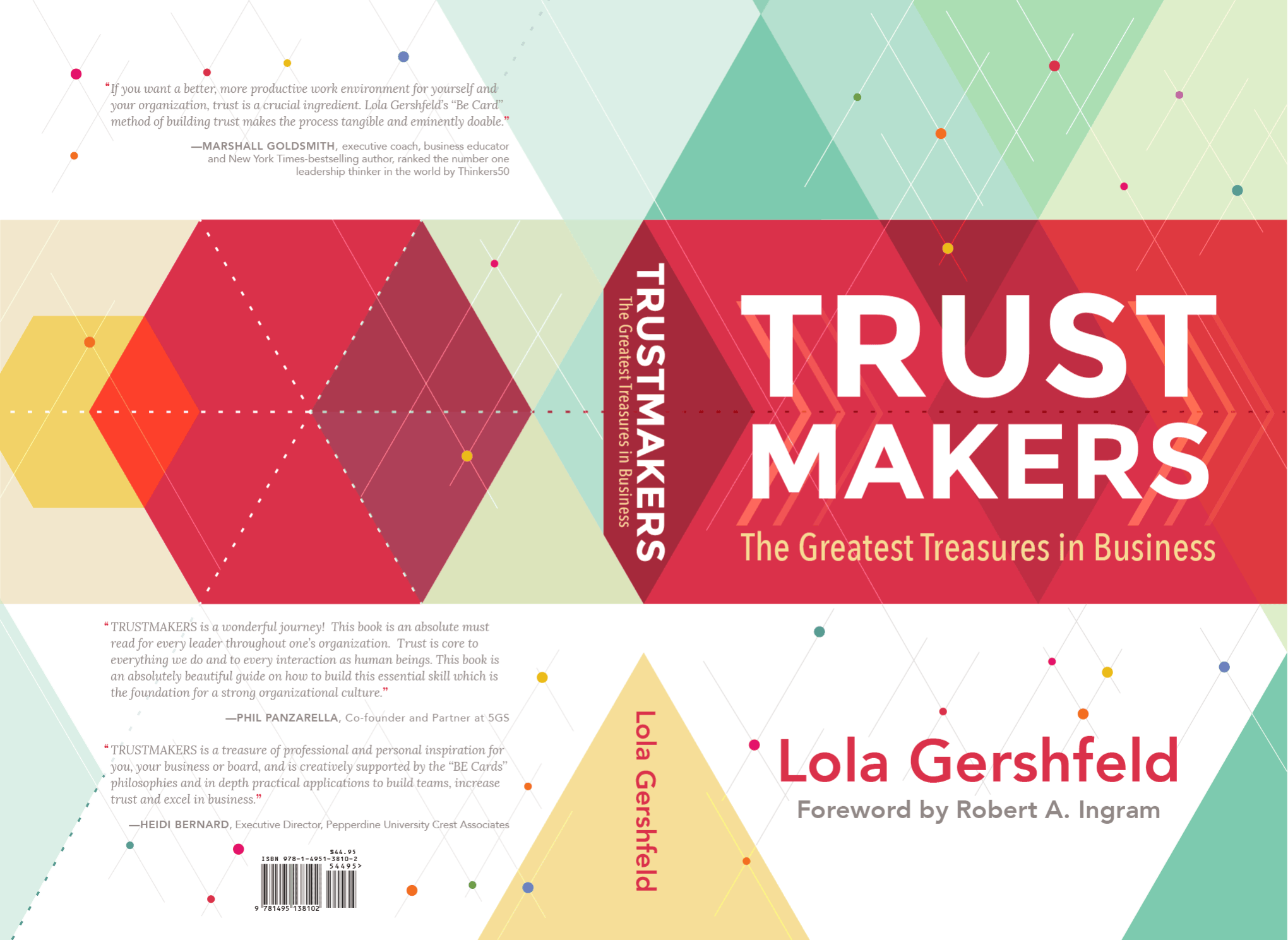 Final cover design of the book, shown as one open spread with the back, spin and front.