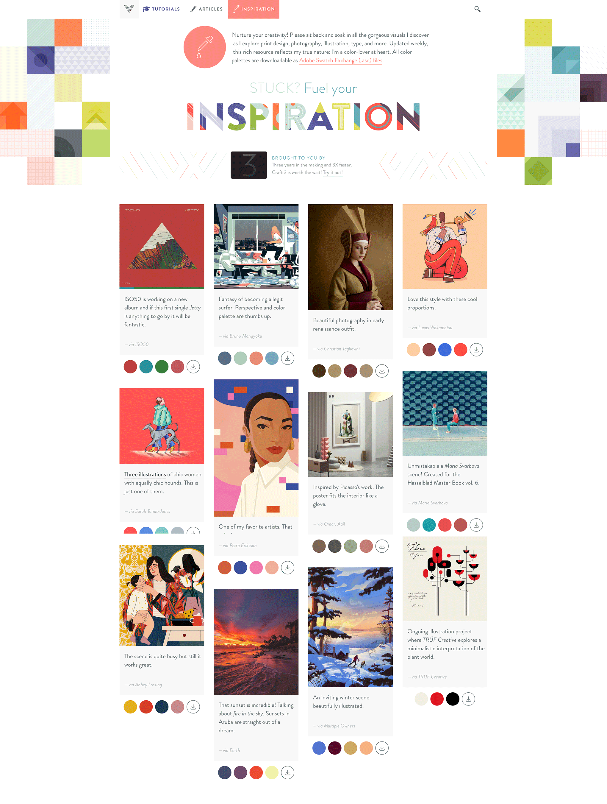 I decided to place the square pattern illustration as a 'fixed background' on the Inspiration Gallery homepage.