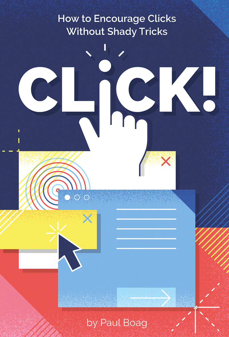 First design proposal of the Click! book's front cover