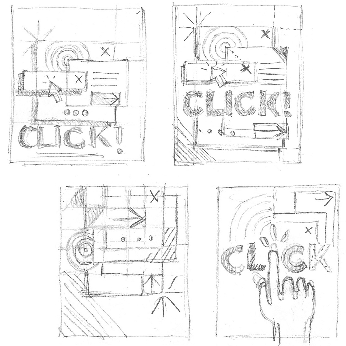 Click! book cover first sketches and doodleslick! book color palette explorations