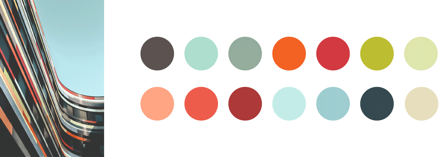 Colors inspired from the photo of the building, which was also my inspiration for my initial attempt for my header illustration.
