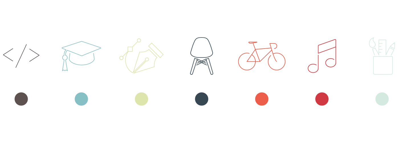The initial color palette and the icons I had in mind