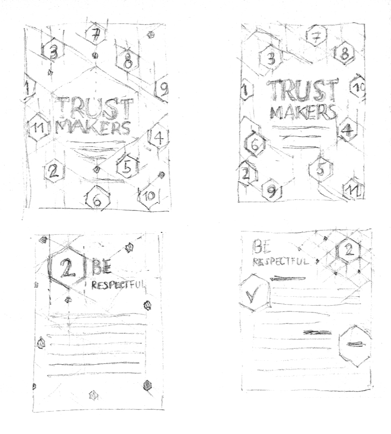 First sketches made for the Be Cards & Trustmakers book cover concept.