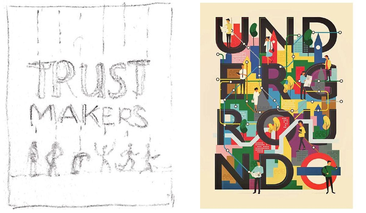 1st concept idea for the Trustmakers cover & Be Cards