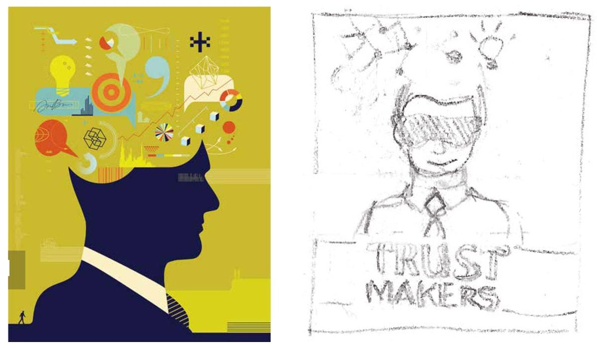 2nd concept idea for the Trustmakers cover & Be Cards