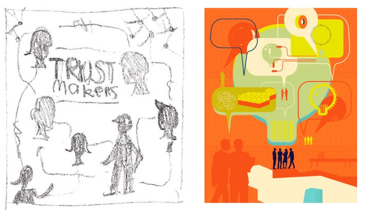 3rd concept idea for the Trustmakers cover & Be Cards
