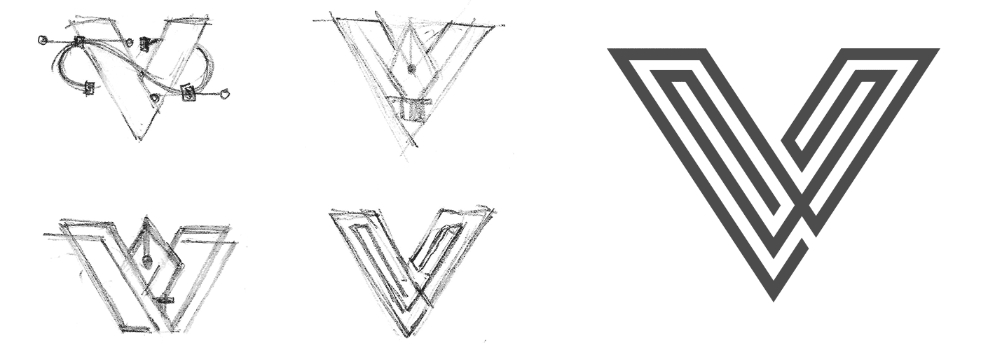 Sketching some new ideas for the V logo icon for Veerle's blog