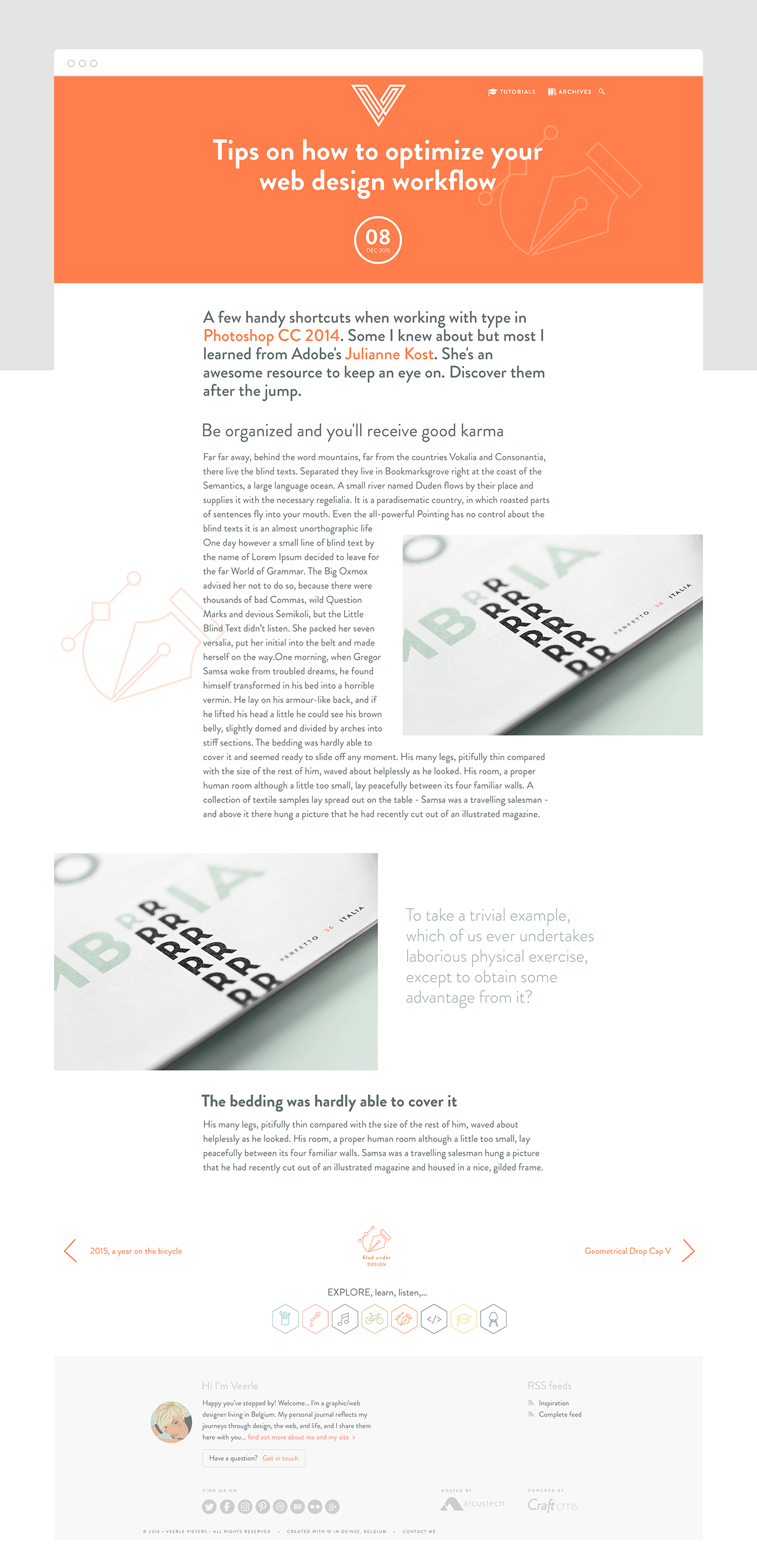 Design of the blog article page in one of the layouts