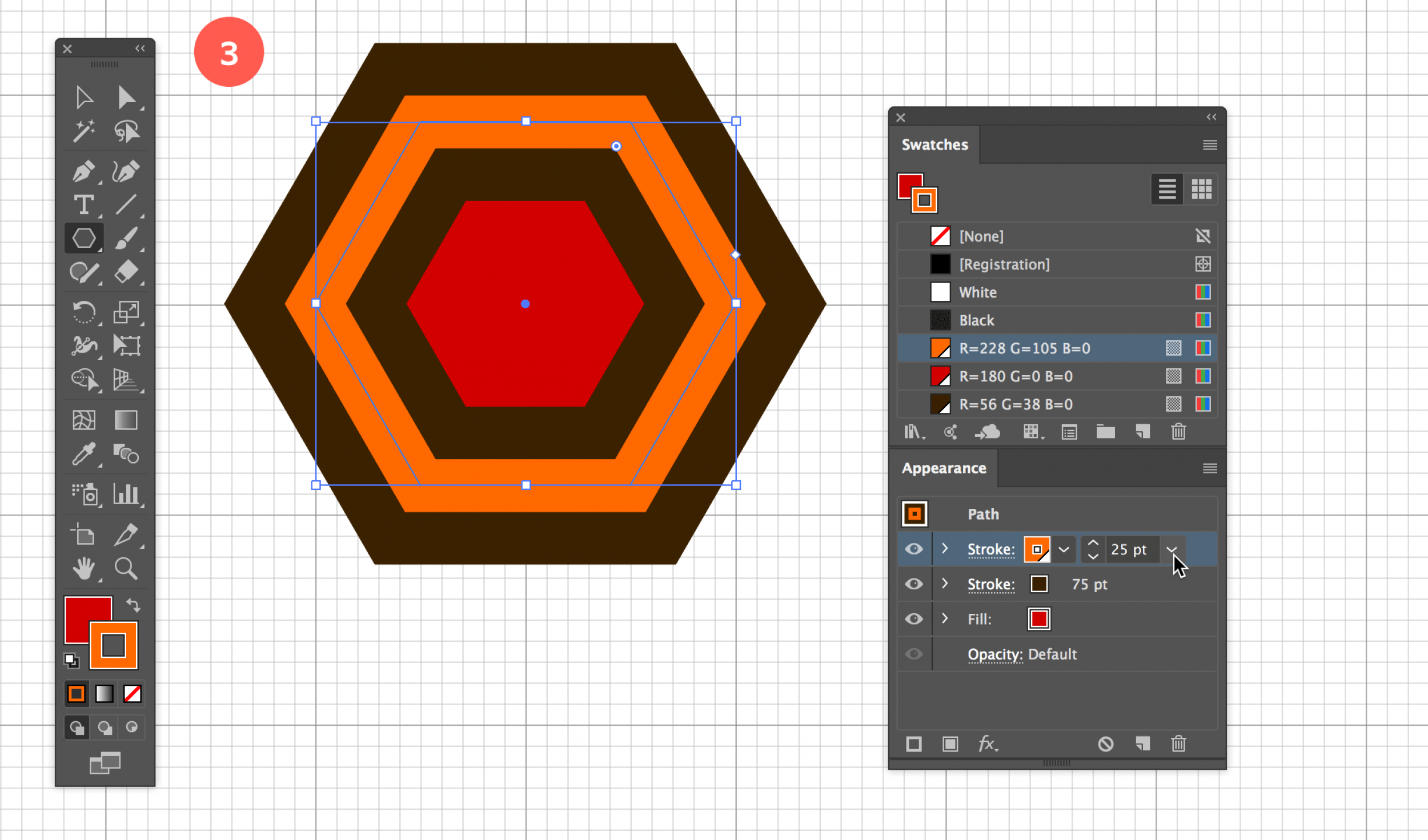 Give the Hexagon a Red fill and Thick Brown Stroke of 75pt with a 25pt Orange Stroke on Top