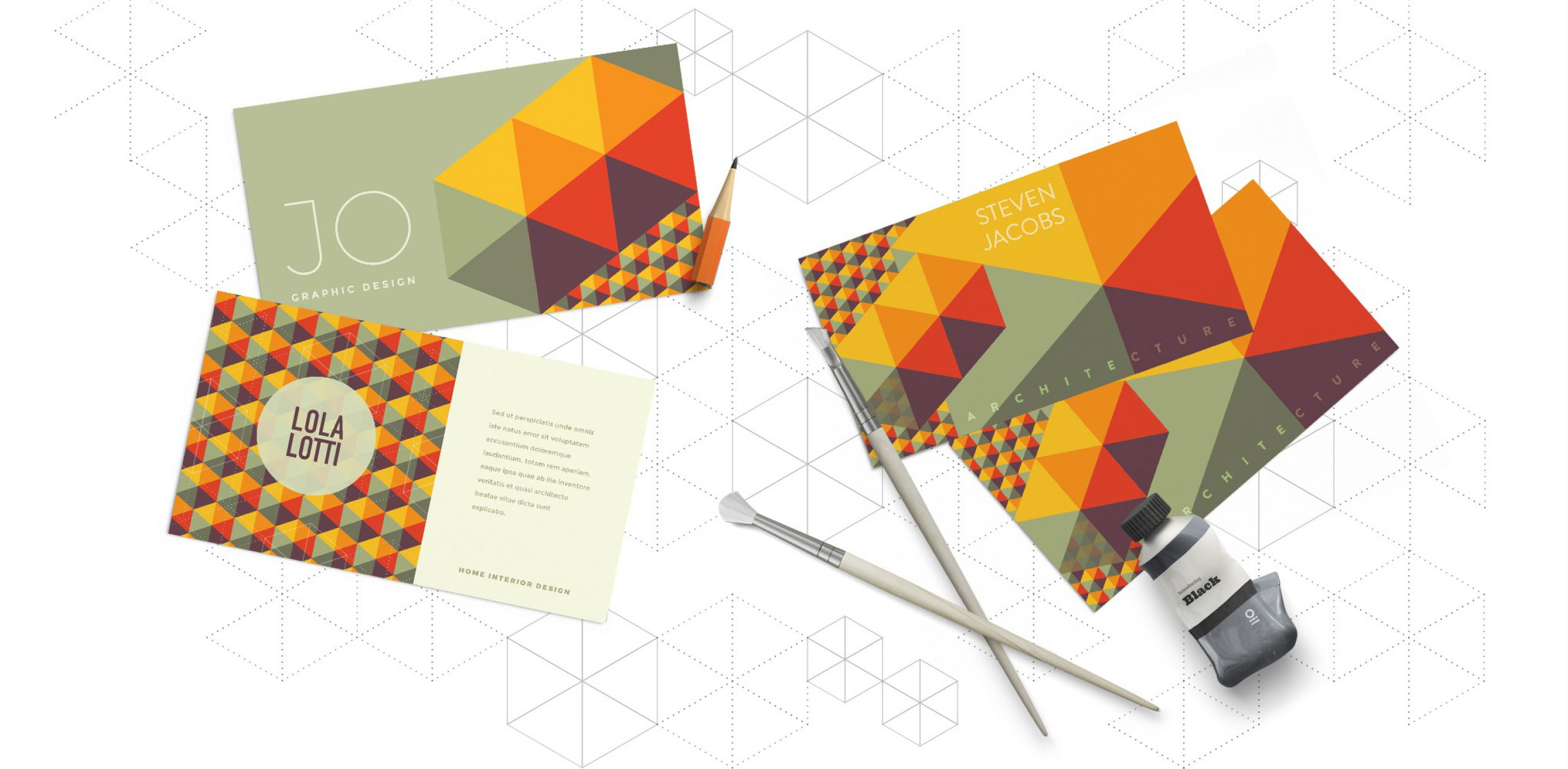 Business card examples using a cube pattern design