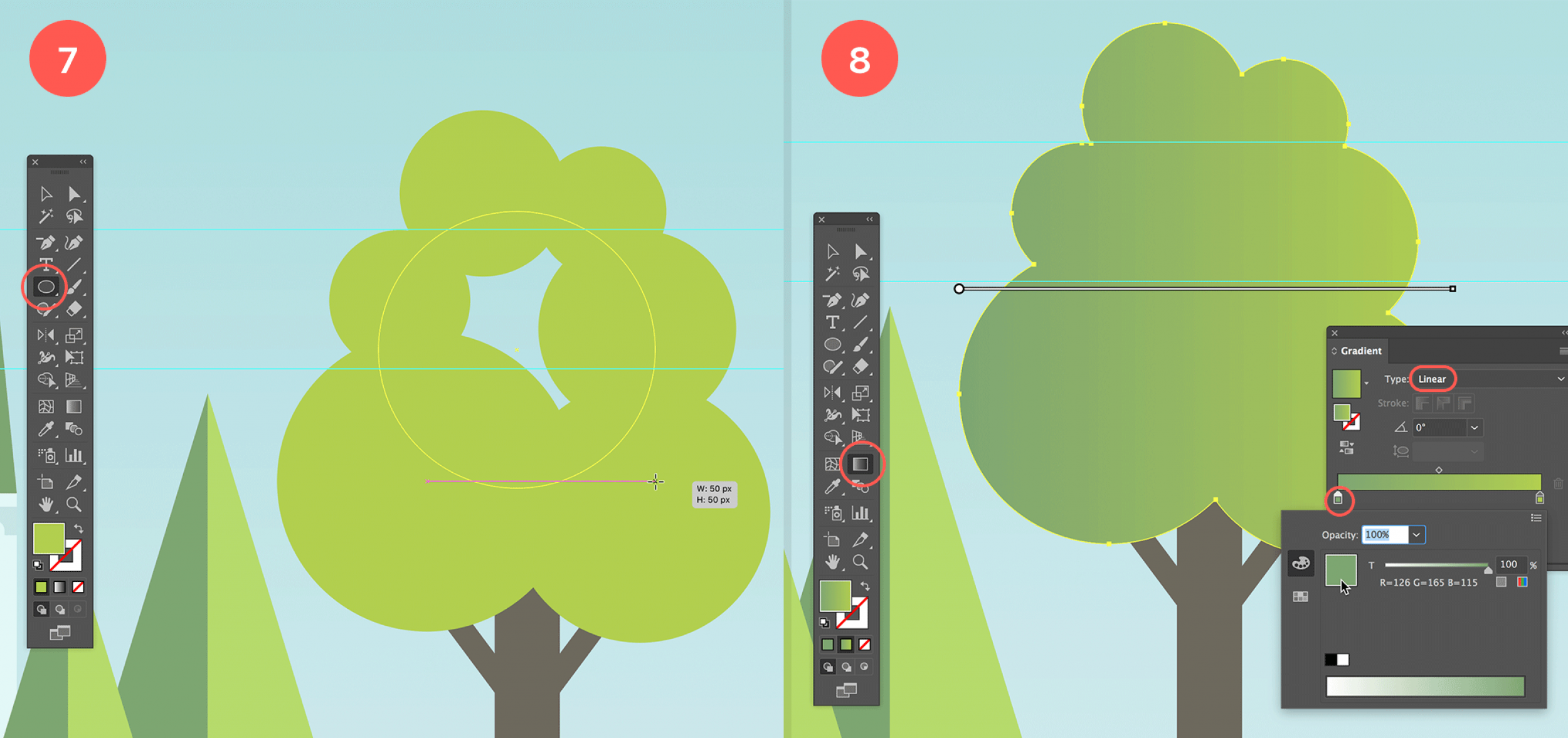 Create the green part of the tree, unite the shape and apply green gradient fill.