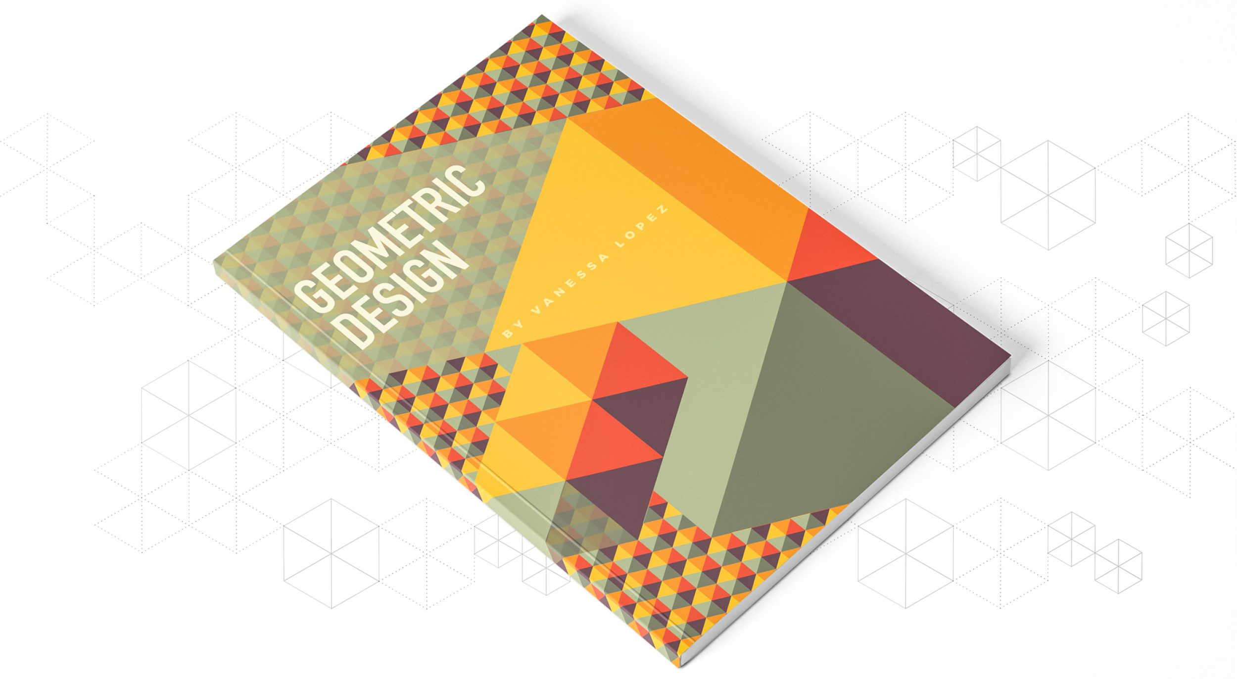 Book cover example using a cube pattern design