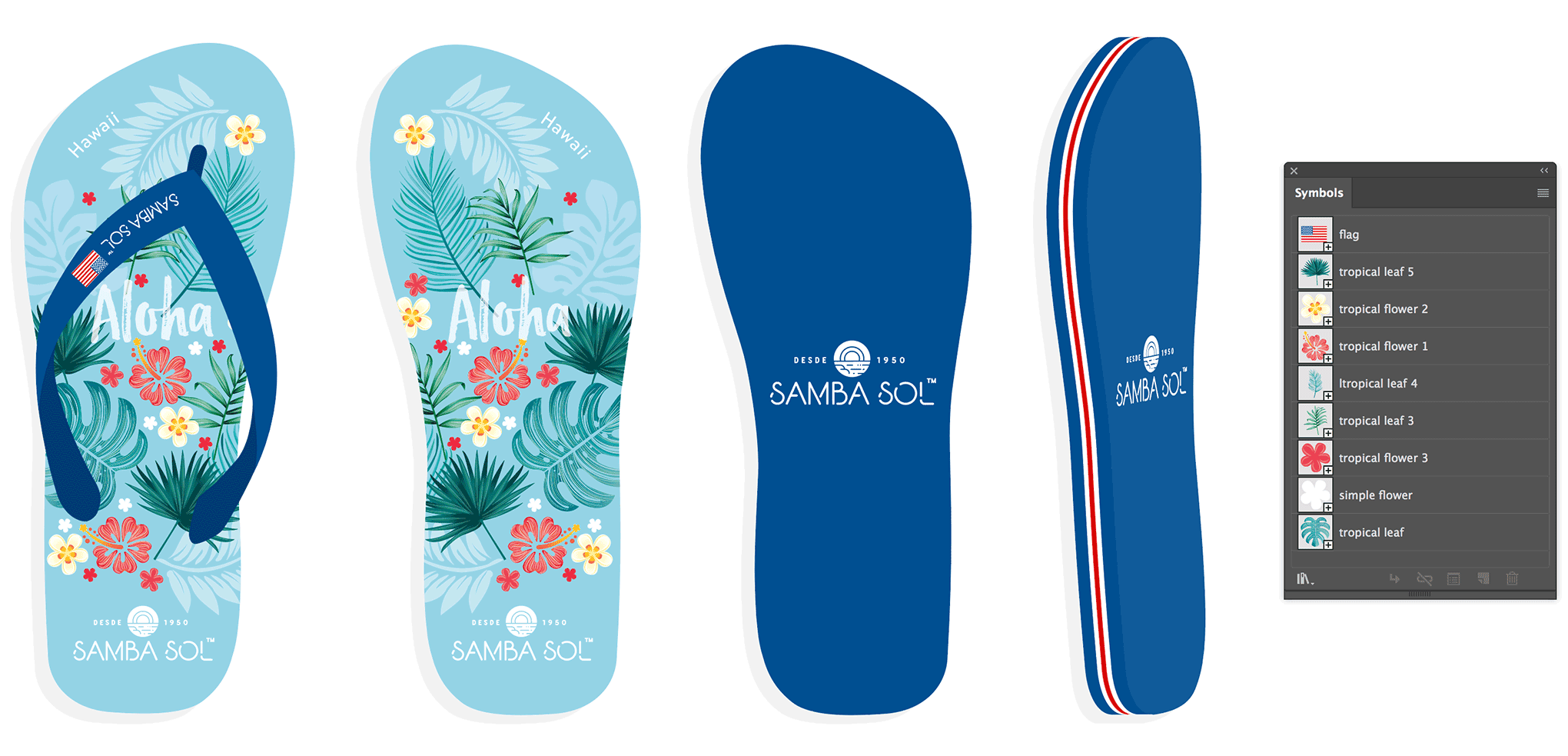 One of the many flip-flops designs created for Samba Sol. This is the Hawaii version.
