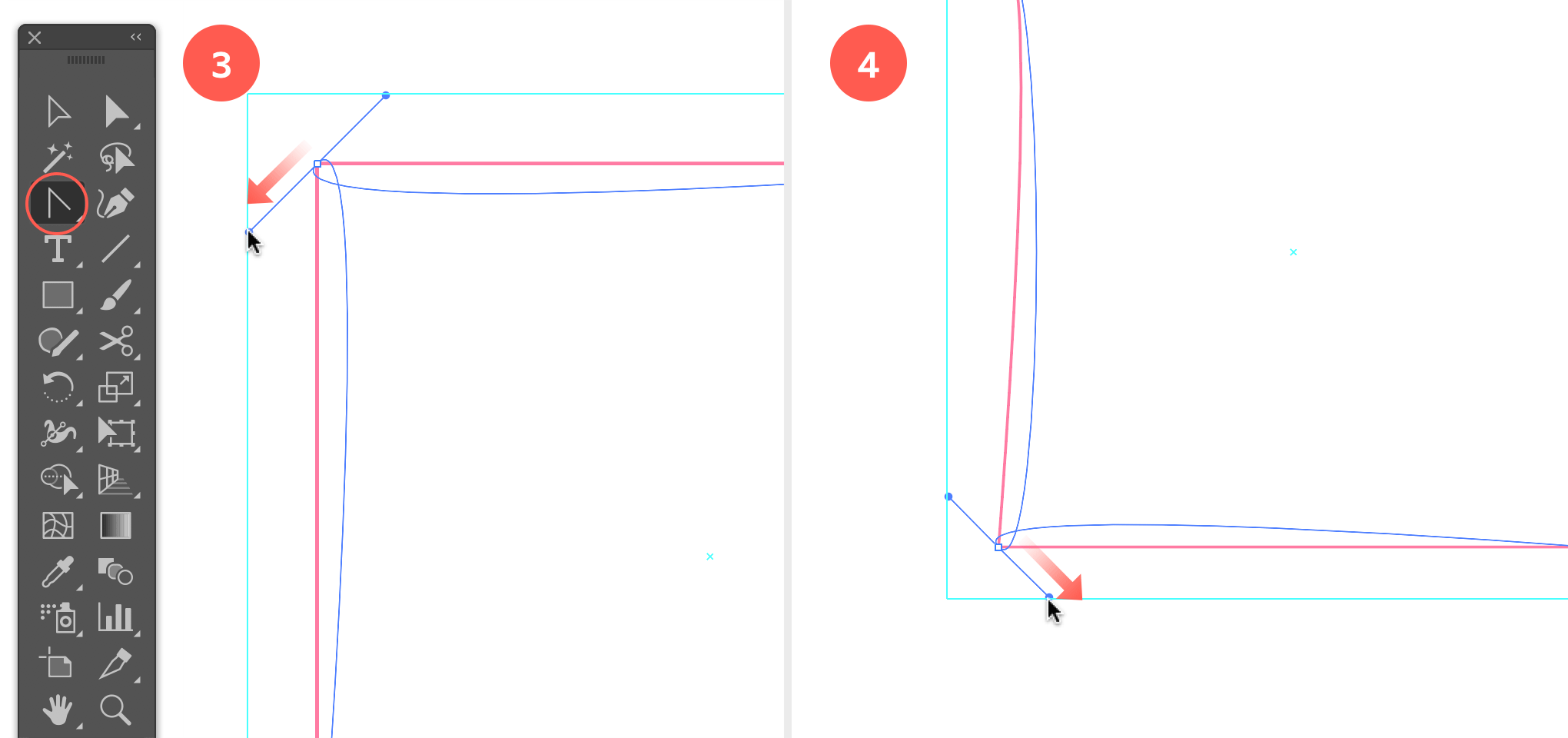 Turn the 4 corner points of the square into bezier anchor points.