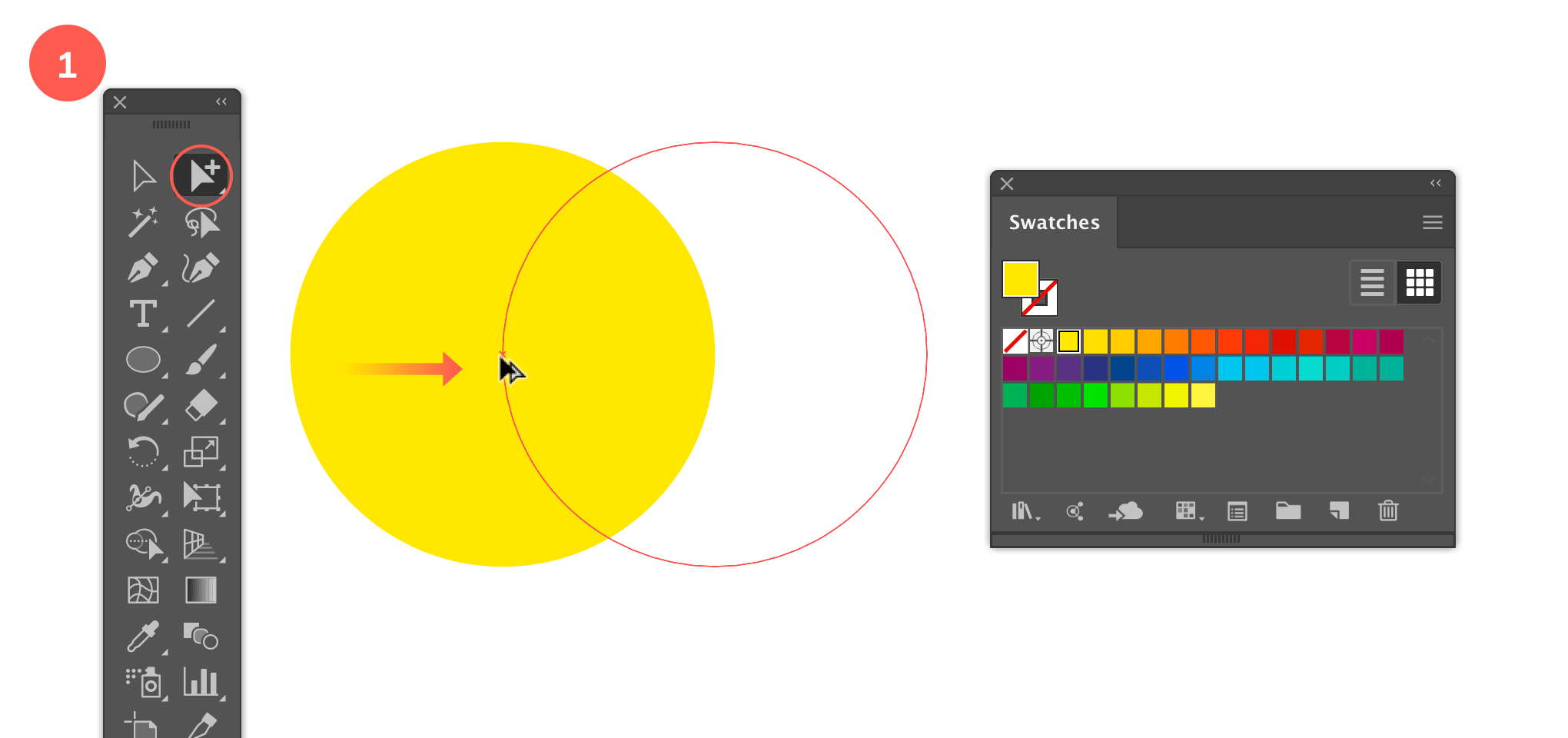 Draw a circle and duplicate it