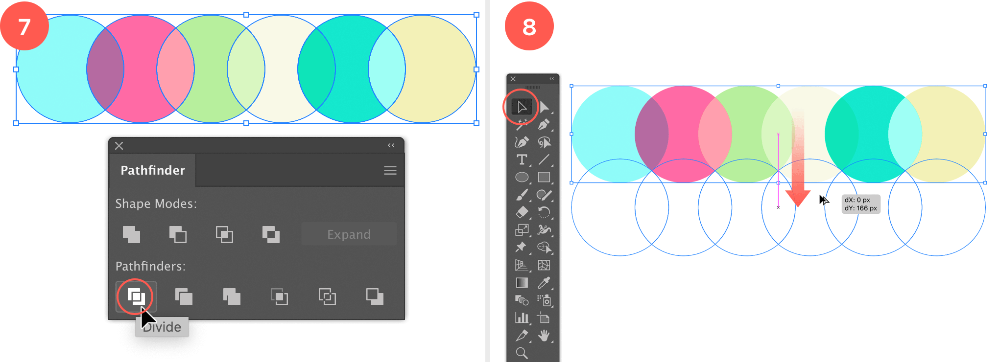 Divide the circles into separate objects and duplicate all the circles while moving them vertically down.