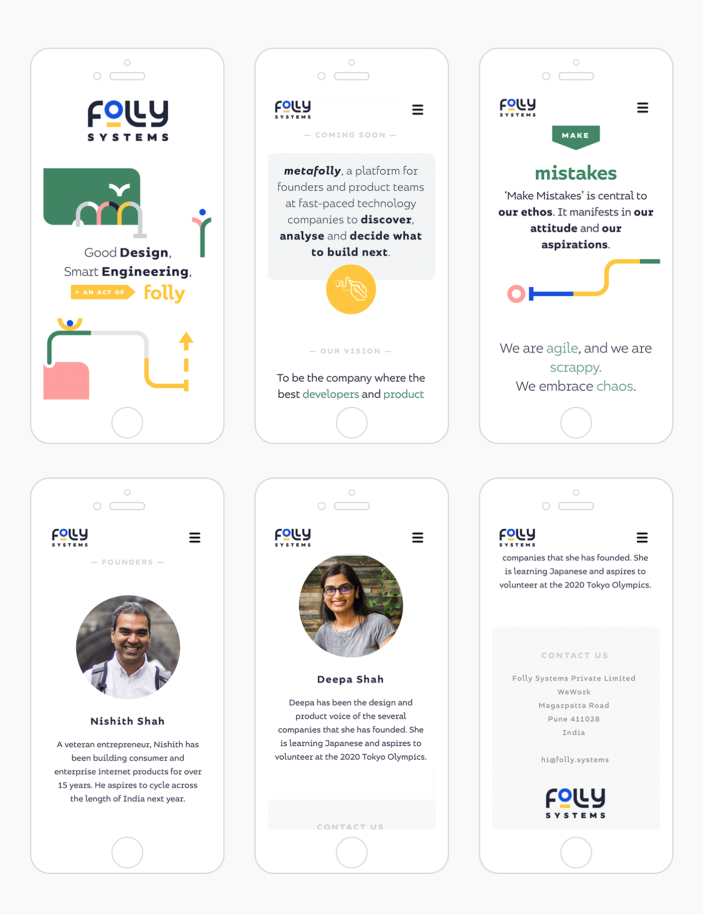 Folly Systems website design - mobile version