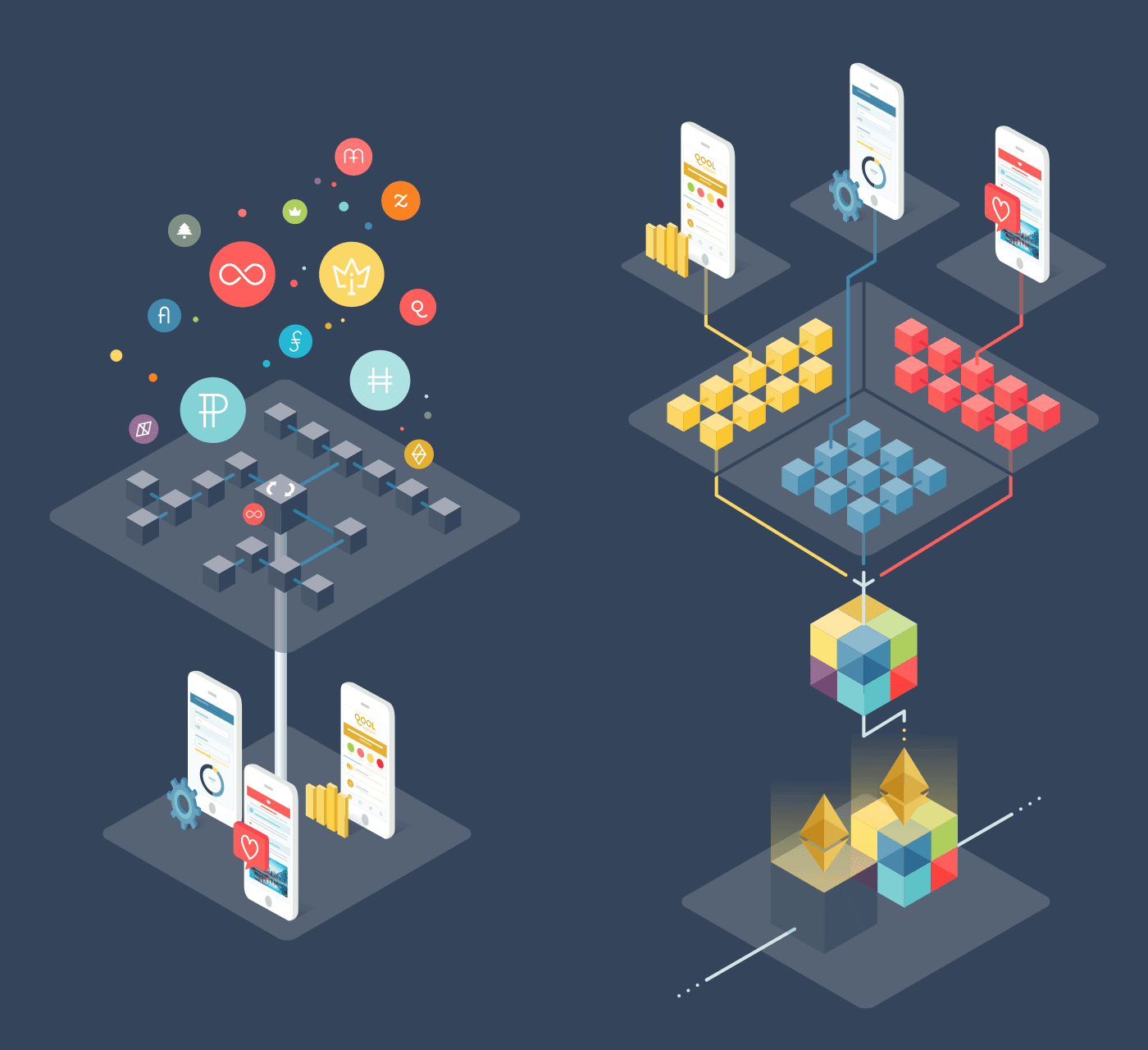 OST color palette and 3 of the many illustrations we've created
