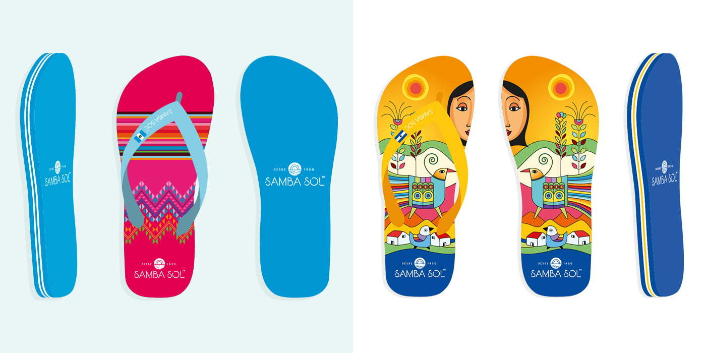 Some of the many Samba Sol flip flop designs