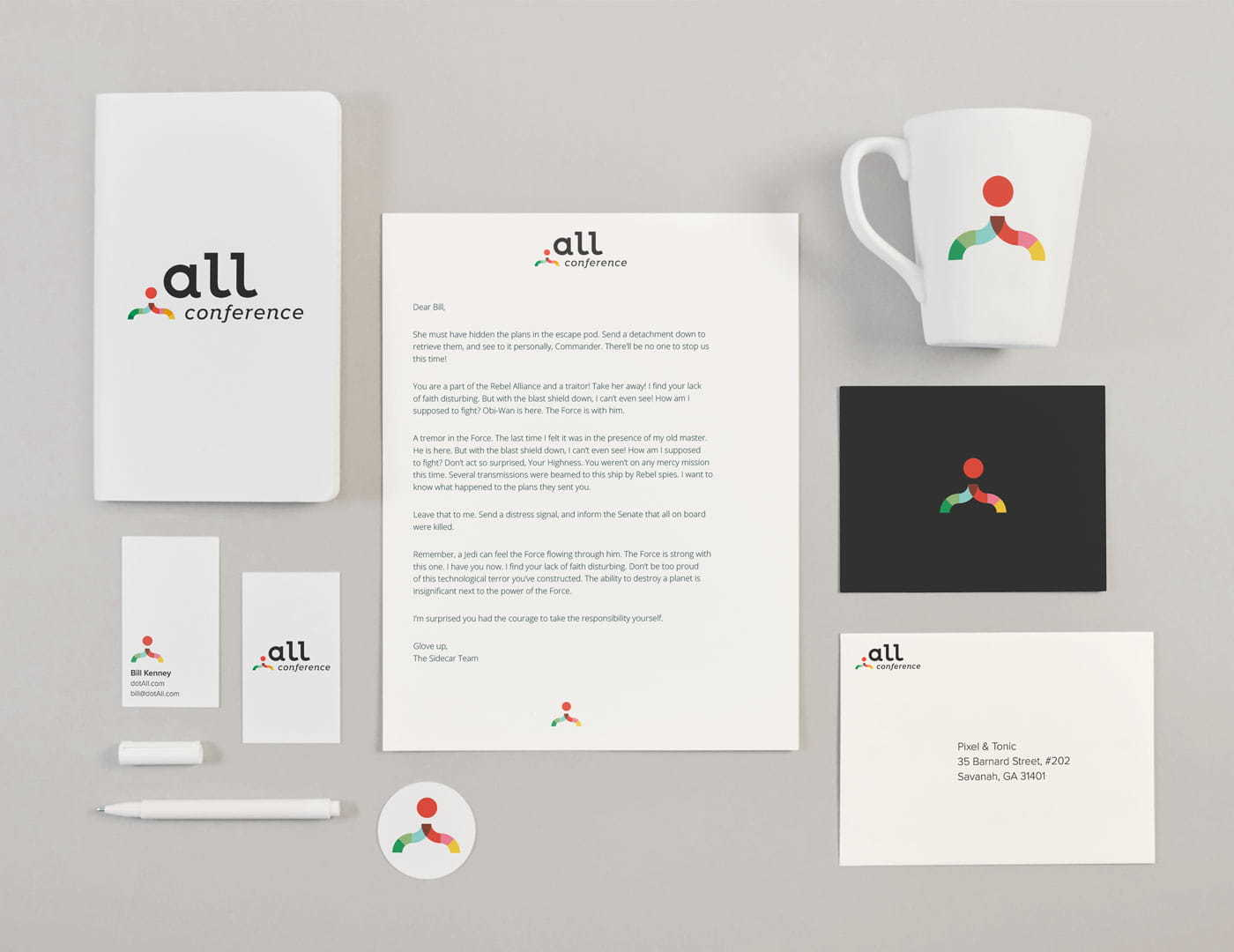 dot All brand material design, showing stickers, buttons, coffee mug, letterhead, business card etc.