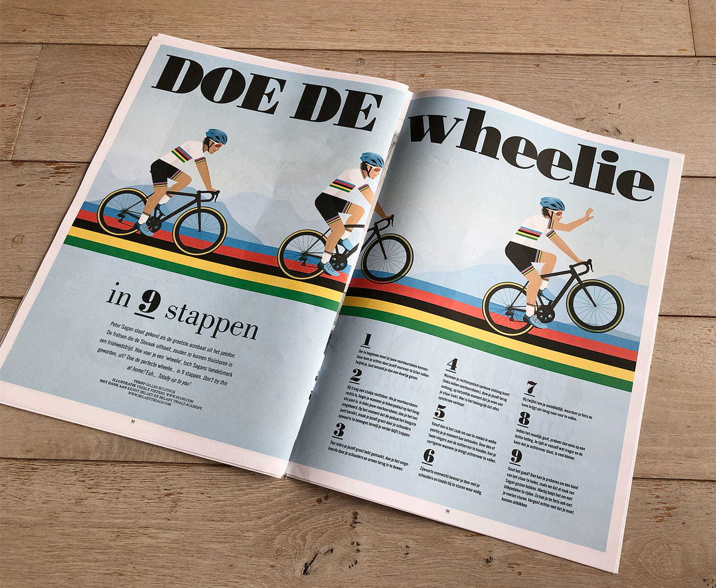 Double page article about how you can do Peter Sagan's wheelie in 9 steps, showing the 3 illustrations