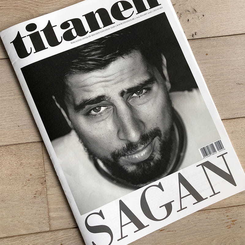 Cover of the Titanen magazine Sagan edition and the article about Peter Sagan's wheelie