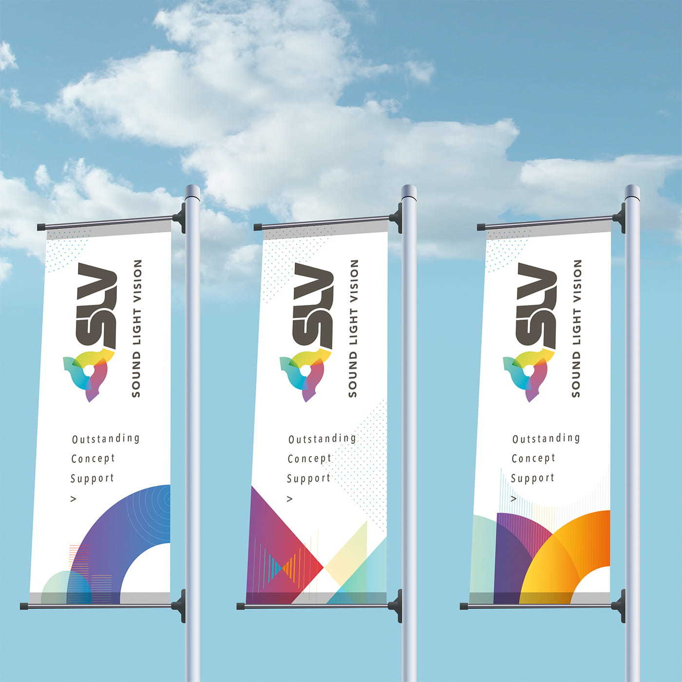 Banner flags, advertisement and billboard design for SLV Rent