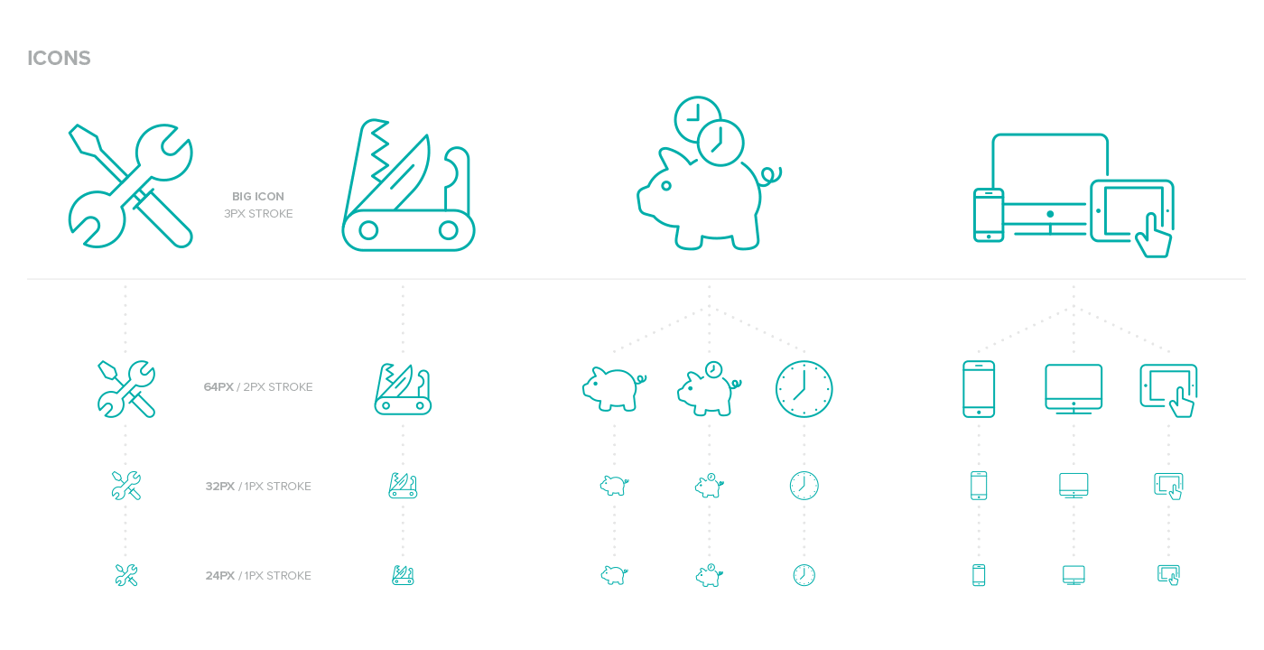 A few of the many icons for Teamleader